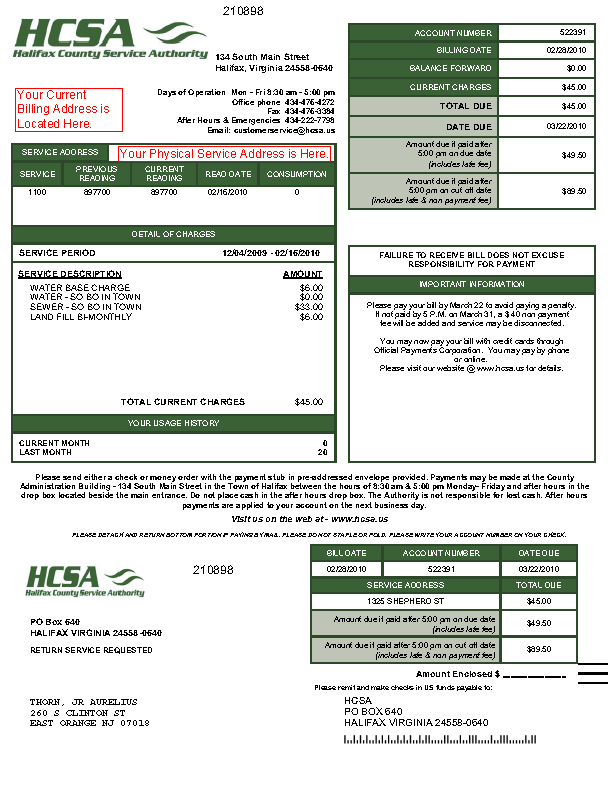 SAmple HCSA Water Bill